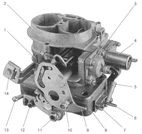 Карбюратор ДААЗ-1111 -1107010: 1 - корпус; 2 - крышка; 3 - крышка пускового устройства; 4 - электромагнитный клапан 5...