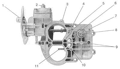 Рис. 14. Вид на крышку карбюратора снизу