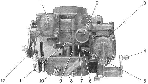 Рис. 4. Вид на карбюратор со стороны диафрагменного механизма пускового устройства и ускорительного насоса