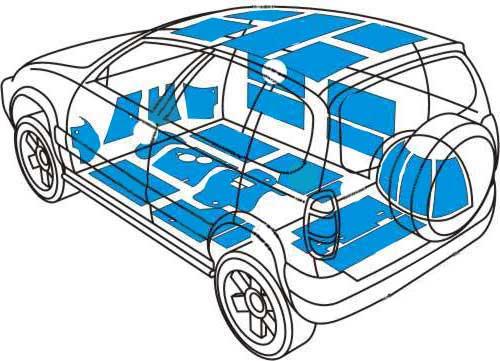 Схема обработки шумоизолирующими материалами автомобиля УАЗ ПАТРИОТ.